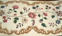 Wallpaper Border Flower Toss Pink Green Blue Brown Swirl Beige Unpasted  557020