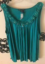 3X Simply Irresistilbe Green Tank with Flower and Pearl Neckline