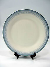 "Royal Doulton China Dinner Plate 10 5/8"" Lorraine H5033 White Blue Silver Rim"