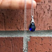 Drop Turkish Silver 925k-Blue Topaz / White-Blue CZ Pendant & Chain / Necklace