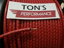 7mm Copper Core BRAIDED CLOTH Red with Black tracers SPARK PLUG WIRE DIY FOOT