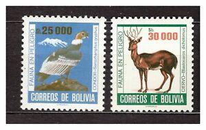 37164) Bolivia 1985 MNH Condor, Deer 2v Scott #716/17