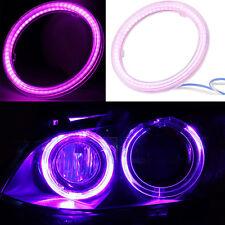 2Pcs Purple Angel Eyes COB Halo Ring Light Car Headlight SMD LED Head Bulb Lamps