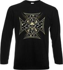 Langarm Damen-T-Shirts aus Baumwolle mit Totenkopf-Motiv