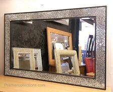 Craquelé Design Miroir Mural Gros Cadre Noir Mosaique 120x80cm Fait À La Main
