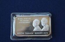 1973 Nixon Tanaka Building a Better World Colonial Mint Silver Art Bar P0724