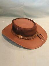Jacuru Australia's Finest Leather Bush Sun Hat Medium Dark Brown GC
