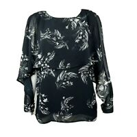 LYSSE Black White Floral Ruffle Split Sleeve Top Blouse Womens Size S Small