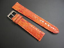 18 mm Elini Orange Coral Genuine Leather Snake Skin Watch Band strap EZ Pins