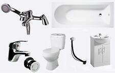 Bathroom Suite 1700mm Bath 550mm Vanity Unit Close Coupled Toilet Taps & Wastes