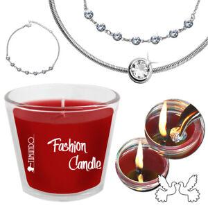 Kerze mit Schmuck Tumundo Fashion Candle Schlangenkette Strass Anhänger Armband