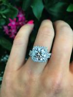 Certified 5.64Ct White Round Cut Diamond 14K Gold Engagement & Wedding Ring Set