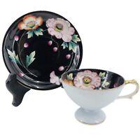 Vintage WALES Bone China Hand Painted Footed Tea Cup & Saucer Blue & Black Japan
