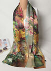 "100% Silk Crepe Satin Women Scarf 67x20"" long Shawl Wrap green yellow S071-011-Y"