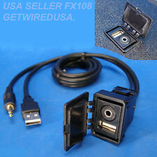 FLUSH MOUNT AUX USB 3.5MM HEADPHONE JACK MOUNTING PANEL DASHBOAR DOCK INPUT LEAD