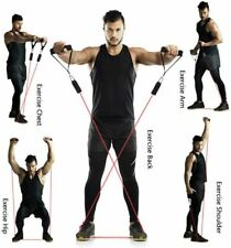 11Pieces Exercise Fitness Tube Resistance Trainer Set Workout Bands TPE/latex