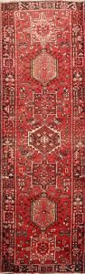 Vintage Geometric Heriz Traditional Runner Rug Wool Hand-knotted Oriental 3'x10'