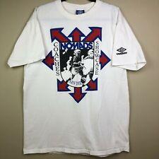 VTG Umbro Soccer Nomads Coaches Showcase T Shirt XL White Double Sided 90s USA