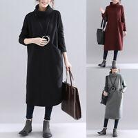 ZANZEA Femme Col Haut Chaud Manche Longue Poches Loose Droit Jupe Robe Plus