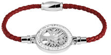 Damenarmband Armreif Armkette Armband echt Leder Rot 18cm Edelstahl  Lebensbaum