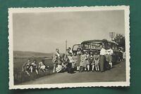 1x Foto Bus Omnibus 1930-40er wohl Mercedes Ausflug mit Radio Volksempfänger