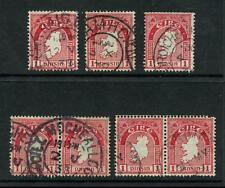 IRELAND 1923 MAP 1d WMK INVERTED 7 stamps DATED POSTMARKS...SG72AW cv £70