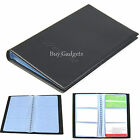 BLACK PU LEATHER 120 BUSINESS NAME CARD HOLDER BOOK WALLET COVER CASE FOLDER
