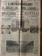 L'Intransigeant (15/7/1938) Howard Hugues - Paris acclame ses soldats - Bartali