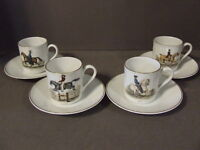SET OF 4 LAVENO VERBANO EQUESTRIAN POLO HORSE DEMITASSE CUP AND SAUCERS