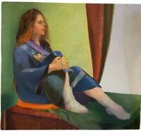 Vintage Stunning Portrait Oil Painting Linda Kolar