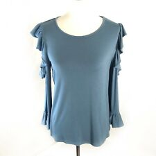 Karl Lagerfeld Cold Shoulder Top Size Medium Blue Blouse Ruffle 3/4 Sleeves NWT