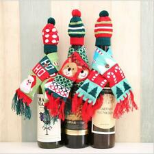 Christmas Scarf Hat Wine Bottle Cover Decoration Christmas Wine Bottle Cover T3