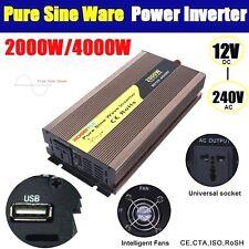 Pure Sine Wave 2000W / 4000W (Peak) Watt Power Inverter 12V to 240V USB Charge