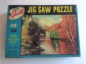 GUIILD Vintage Jigsaw Puzzle PARK POND Complete Swans Landscape Big Pieces 304