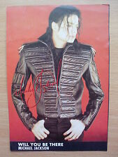 MICHAEL JACKSON -  Will You Be There - Lyric Card + Autograph (print)