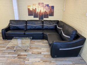 Comfy Reversible Black Leather Corner Sofa