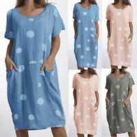 Summer Women Beach Casual Wave Point O Neck Loose Cotton Short Sleeve Maxi Dress