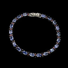 Sterling Silver Bracelet Blue Tanzanite and Pink Rhodolite Genuine Gem 7 1/4""