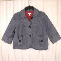 Ann Taylor Loft Cropped Jean Jacket Womens Size 6 Blue Denim Pinstripe Lined
