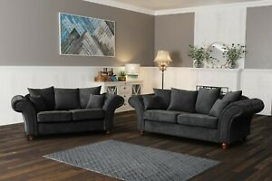 NEW WINDSOR CHESTERFIELD FABRIC SOFA 2 SEATER SUITE GREY FABRIC