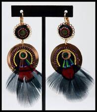 Boucles d oreilles BIJOUX LOL plume noir or strass perle glamour LOLILOTA
