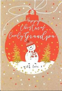 CHRISTMAS CARD FOR A LOVELY GRANDPA - SNOWMAN, TREES