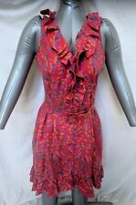 Rachel Zoe Ruffled Silk Sleeveless Belted Cocktail Dress Red Abstract Size 8