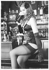 Semi Nude European Postcard- Bar- Drinks Beer- Lingerie- Legs- Stockings- Bra #9