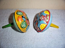Vintage Tin Litho Metal Toy Rattle Noisemakers With Clown Faces