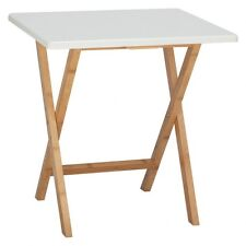 Branded Drew Bamboo And White Lacquer Folding Side Table - 446509  RRP £45