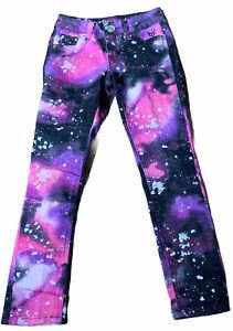 Justice Premium Jeans Girls Paint Splatter Denim Size 7R Simply Low Skinny Leg