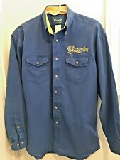 Vintage Wrangler Shirt Wrangler Logo Embroidered Logo Blue Cotton Size Medium