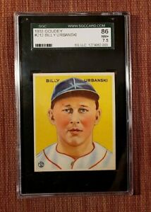 1933 Goudey #212 Billy Urbanski Boston Braves Rookie Baseball Card SGC 7.5 RC