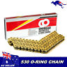 Unibear O-Ring 530 120 Links Motorcycle Chain,Gold, with 2 Connecting Links